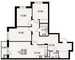 улица Тимуровцев, дом 5а (2-я очередь строительства: 1-2 секция), кв. 214