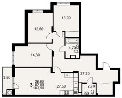 улица Тимуровцев, дом 5а (2-я очередь строительства: 1-2 секция), кв. 221